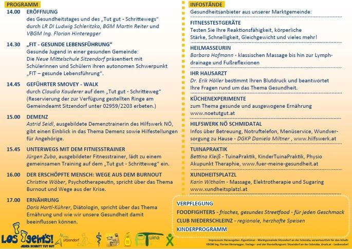 Gesundheitstag MGD Sitzendorf in Niederschleinz Programm